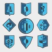 Boxing emblems set — Stock Vector