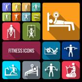 Workout training icons set flat — Stock Vector