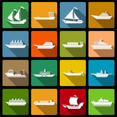Ship and boats icons set flat — Vettoriale Stock