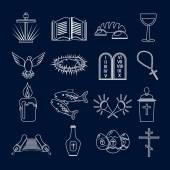 Christianity icons set outline — Stock Vector