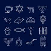 Judaism icons set outline — Cтоковый вектор