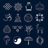 Buddhism icons set outline — Vector de stock