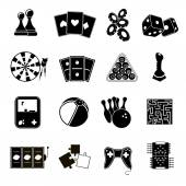 Game icons set black — Stock Vector