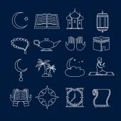 Islam icons set outline — Stock Vector