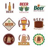 Beer colored emblems — Stock Vector
