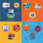 E-commerce icons set flat — Stock Vector #52411761