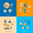 Time management flat composition icons set — Stock Vector