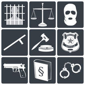 Law and justice icons white on black — Stock Vector