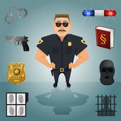 Policeman character with icons — Stock Vector