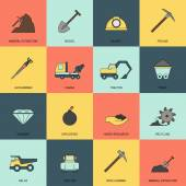 Mining icons line flat — Stock Vector