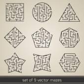 Maze labyrinth set — Stock Vector