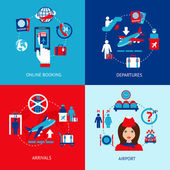 Airport icons flat set — Stock Vector