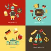 Germany travel flat set — Vettoriale Stock