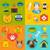 Veterinary icons set flat — Stock Vector