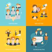 Teamwork icons flat — Stock Vector