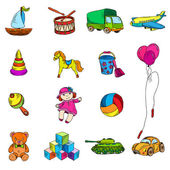 Toys Sketch Icons Set — Vettoriale Stock
