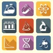 Physics science icons flat — Stock Vector