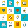 Education Icons Flat — Stock Vector
