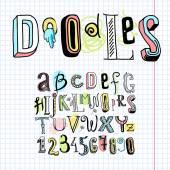 Doodle alphabet font notebook — Stock Vector
