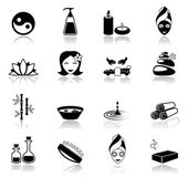 Spa icons black — Stock Vector