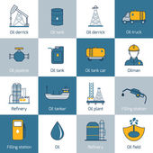 Oil Icons Flat Line — Stock Vector