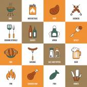 Bbq Line Icons — Stock Vector