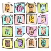 Sketch emoticons stickers set — Stock Vector
