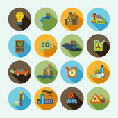 Pollution Icons Set — Stock Vector