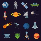Space and astronomy icons — Stock Vector