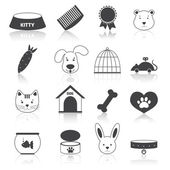 Pets icons set black — Stock Vector