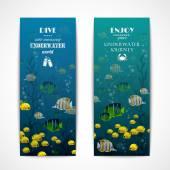 Diving vertical banners — Stock Vector
