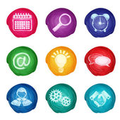 Watercolor business icons round — Stock Vector