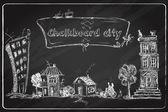 Chalkboard city doodle — Stock Vector