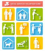 Volunteer icons set flat — Stock Vector