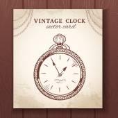 Old vintage pocket watch card — Stock Vector