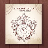 Old vintage wall clock card — Stock Vector