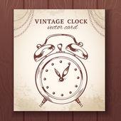 Old retro alarm clock card — Stock Vector