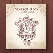 Old retro cuckoo clock card — Stock Vector