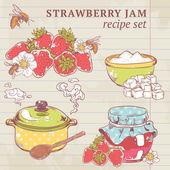 Strawberry jam ingredients — Stock Vector