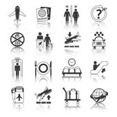 Airport icons black and white set — Stockvector