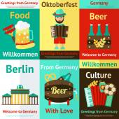 Germany travel retro poster set — Stock Vector