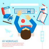 Top view office man — Vector de stock