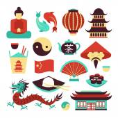 China symbols set — Stock Vector