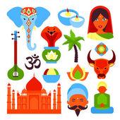 India symbols set — Stock Vector