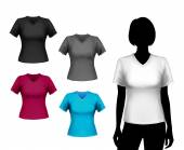 T-shirts female set — Stock Vector
