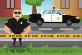 Policeman and patrol car — Stock Vector