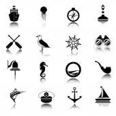 Nautical icons set black — Stock Vector