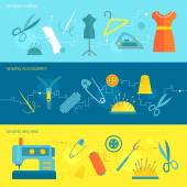 Sewing equipment banner flat — Stock Vector