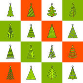 Christmas Tree Flat Line Icons — Stock Vector