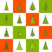 Christmas Tree Flat Line Icons — Stock Vector